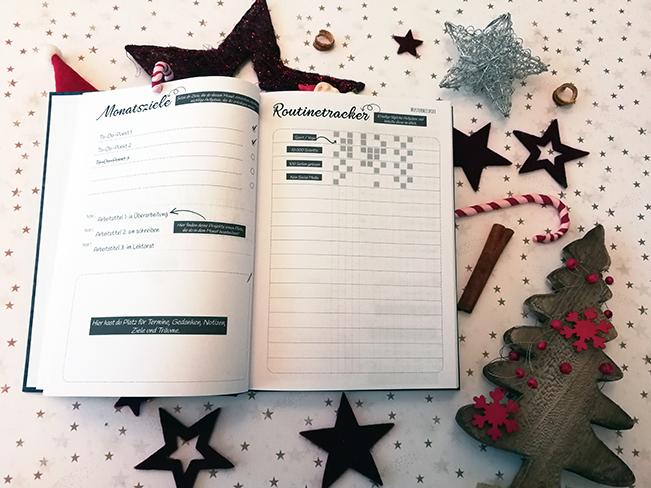 Montatsziele und Routinetracker des Autorenjahreskalenders 2019