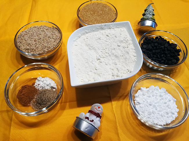 Trockene Zutaten für weihnachtliche Cookies
