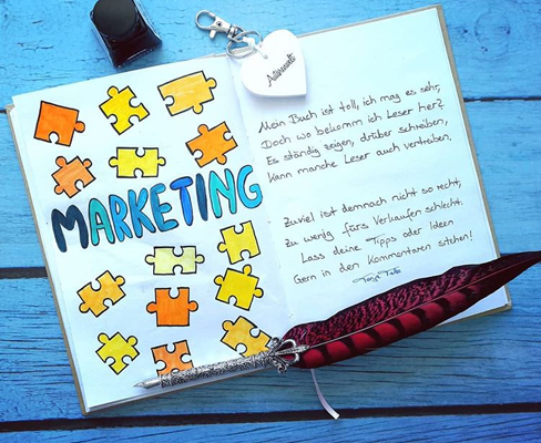 Ein Lettering zum Thema Buch Marketing
