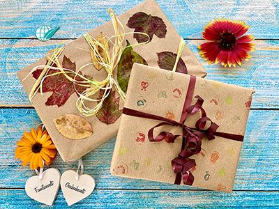 Selbst gestaltetes Geschenkpapier