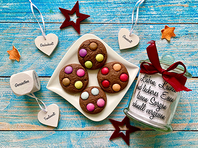 Cookies mit Nutella und Smarties